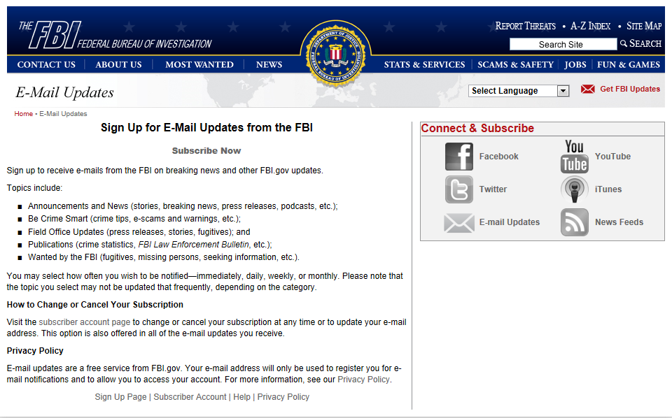 Access to local FBI news